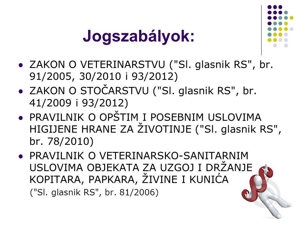 Jogszabályok: ZAKON O VETERINARSTVU ( Sl. glasnik RS , br.