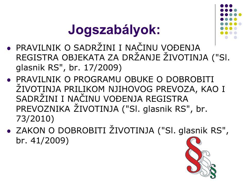 Jogszabályok: PRAVILNIK O SADRŽINI I NAČINU VOĐENJA REGISTRA OBJEKATA ZA DRŽANJE ŽIVOTINJA ( Sl.