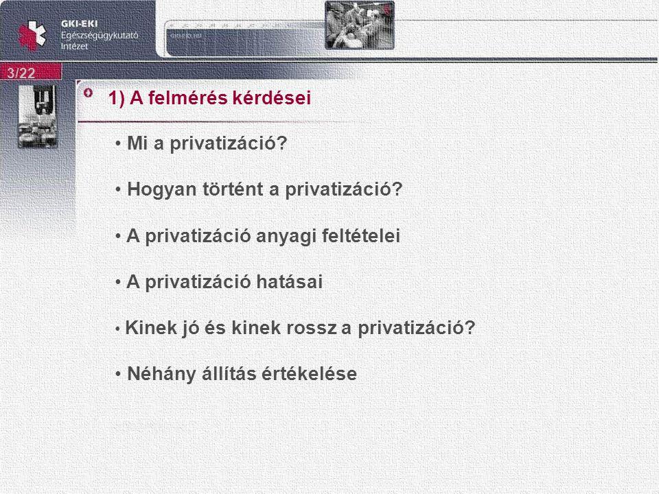 1) A felmérés kérdései 3/22 Mi a privatizáció. Hogyan történt a privatizáció.