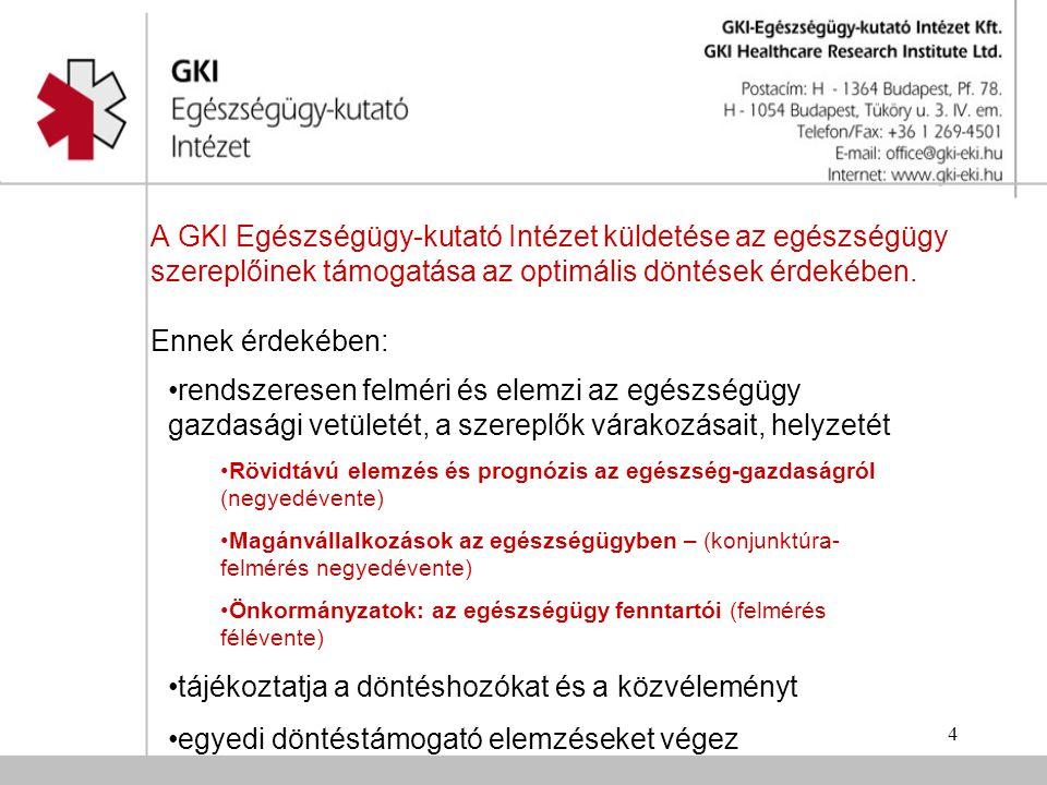 4 A GKI Egészségügy-kutató Intézet küldetése az egészségügy szereplőinek támogatása az optimális döntések érdekében.