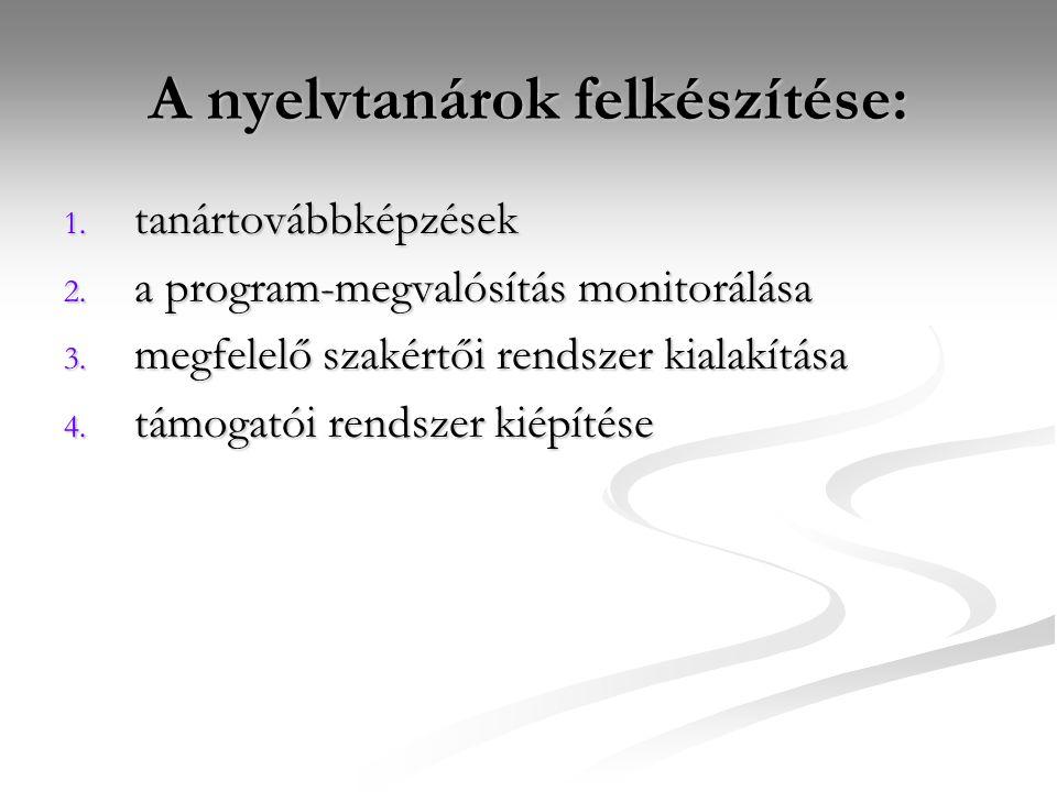 A nyelvtanárok felkészítése: 1. tanártovábbképzések 2.