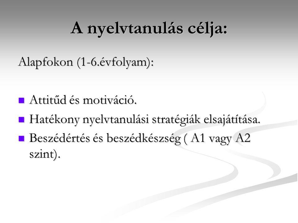 A nyelvtanulás célja: Középfokon: (7 - 12.