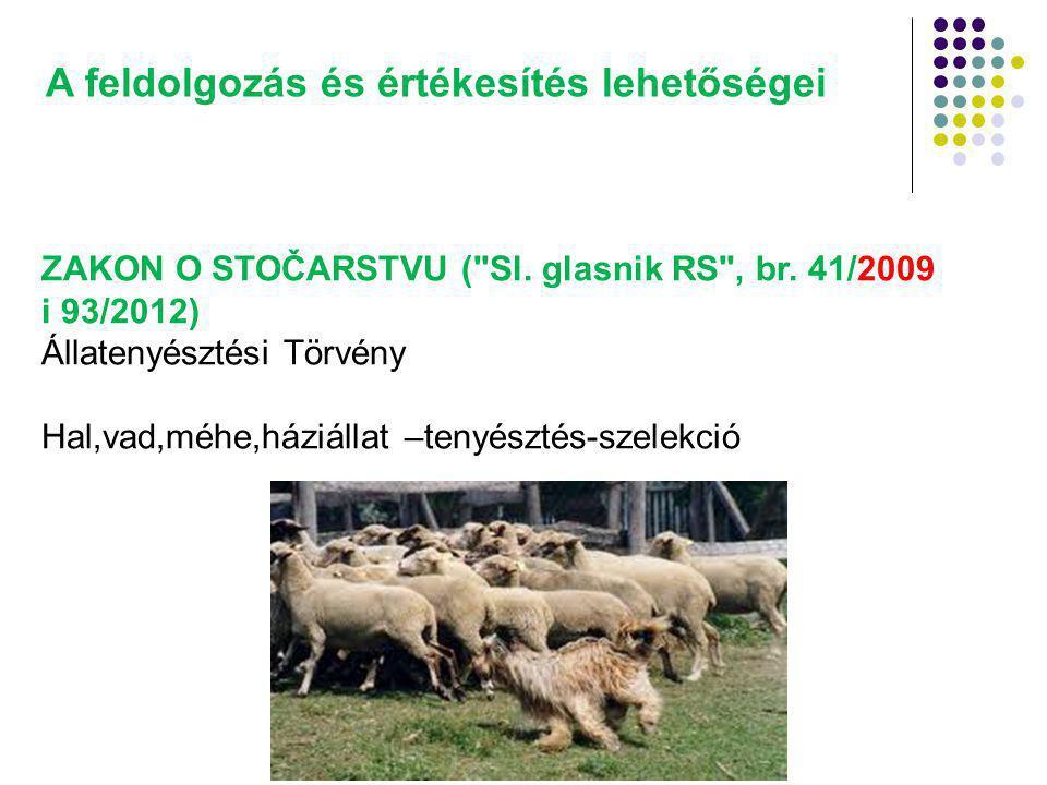 A feldolgozás és értékesítés lehetőségei ZAKON O STOČARSTVU ( Sl.