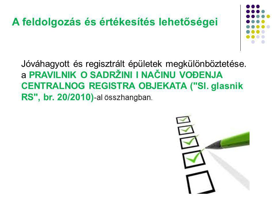 A feldolgozás és értékesítés lehetőségei Jóváhagyott és regisztrált épületek megkülönböztetése.