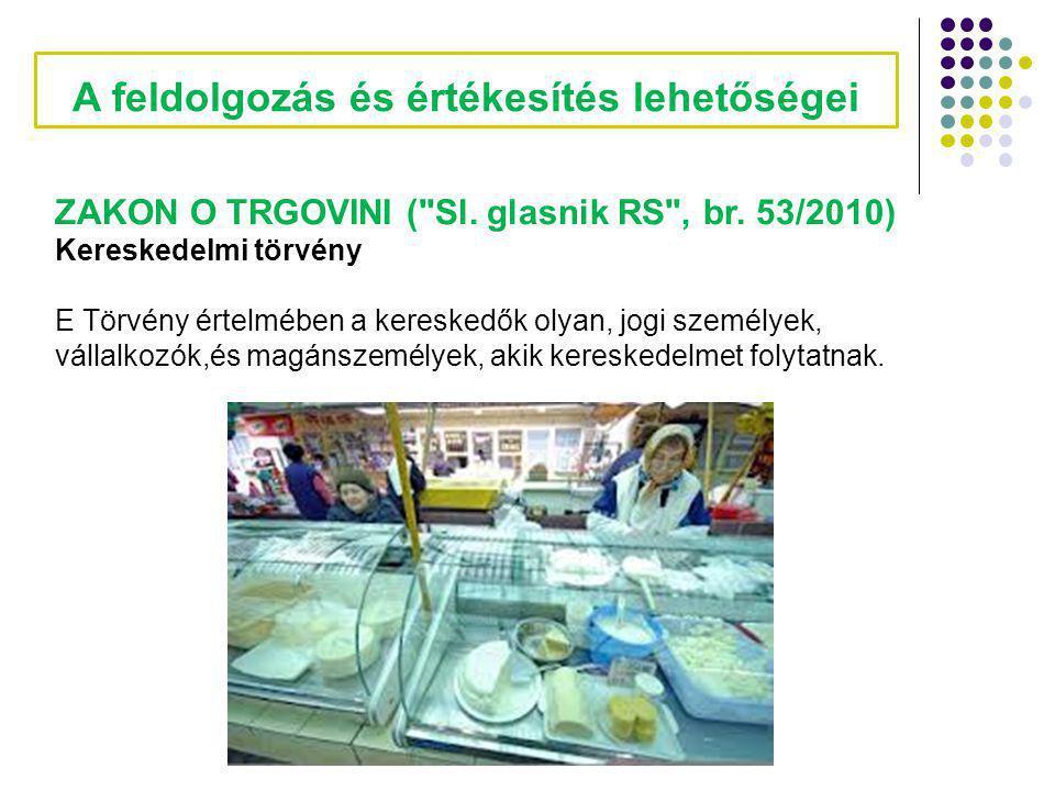 A feldolgozás és értékesítés lehetőségei ZAKON O TRGOVINI (