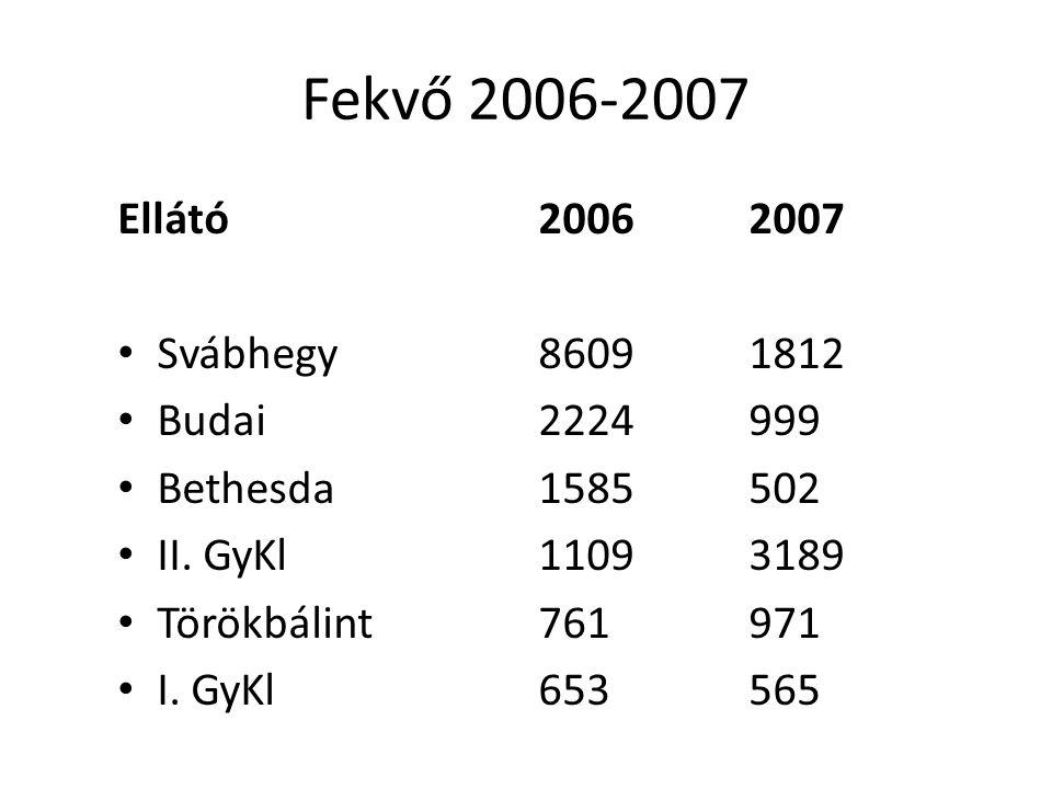 Fekvő 2006-2007 Ellátó20062007 Svábhegy86091812 Budai2224999 Bethesda1585502 II.