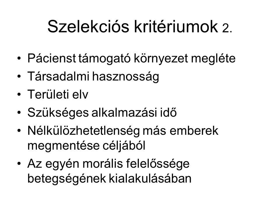 Szelekciós kritériumok 2.