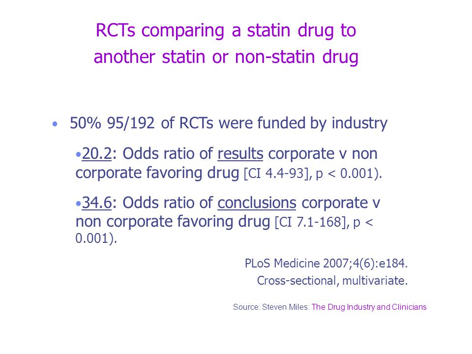 RCTs comparing a statin drug to another statin or non-statin drug 50% 95/192 of RCTs were funded by industry 20.2: Odds ratio of results corporate v non corporate favoring drug [CI 4.4-93], p < 0.001).