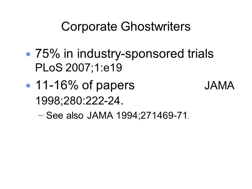 Corporate Ghostwriters 75% in industry-sponsored trials PLoS 2007;1:e19 11-16% of papers JAMA 1998;280:222-24.