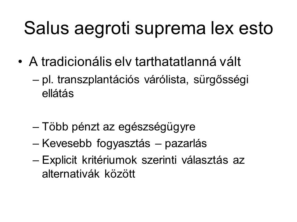 Salus aegroti suprema lex esto A tradicionális elv tarthatatlanná vált –pl. transzplantációs várólista, sürgősségi ellátás –Több pénzt az egészségügyr