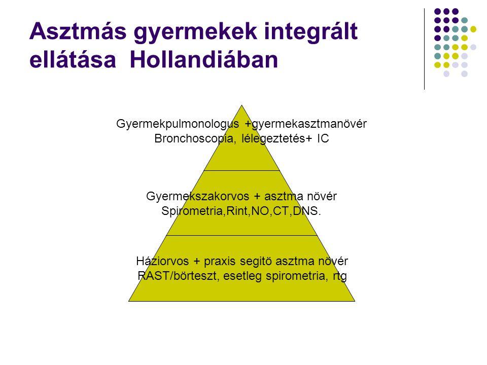 Asztmás gyermekek integrált ellátása Hollandiában Gyermekpulmonologus +gyermekasztmanövér Bronchoscopia, lélegeztetés+ IC Gyermekszakorvos + asztma nö