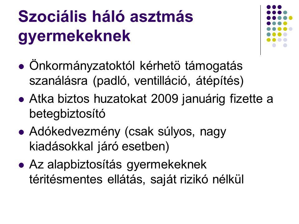 Szociális háló asztmás gyermekeknek Önkormányzatoktól kérhetö támogatás szanálásra (padló, ventilláció, átépítés) Atka biztos huzatokat 2009 januárig