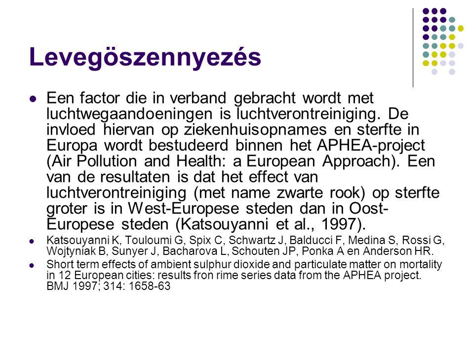 Levegöszennyezés Een factor die in verband gebracht wordt met luchtwegaandoeningen is luchtverontreiniging. De invloed hiervan op ziekenhuisopnames en
