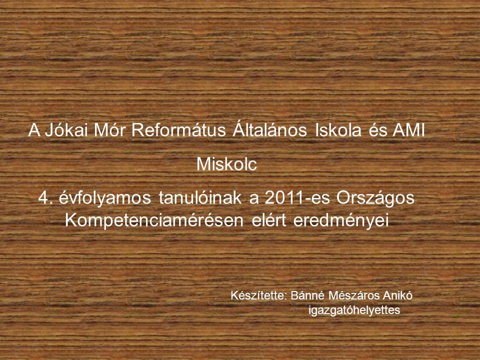 A Jókai Mór Református Általános Iskola és AMI Miskolc 4. évfolyamos tanulóinak a 2011-es Országos Kompetenciamérésen elért eredményei Készítette: Bán