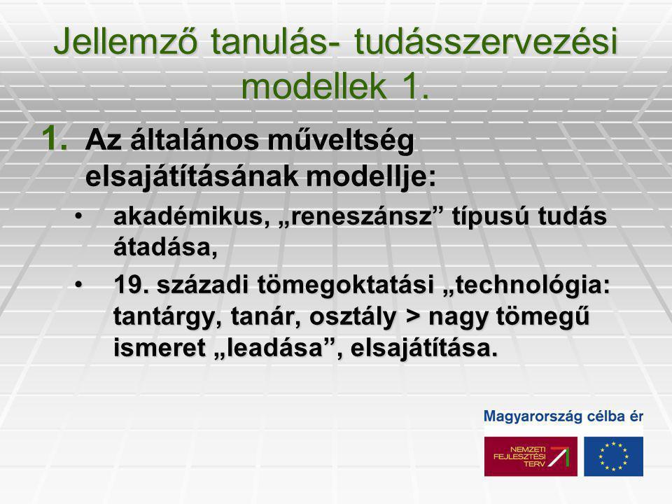 Jellemző tanulás- tudásszervezési modellek 1. 1.