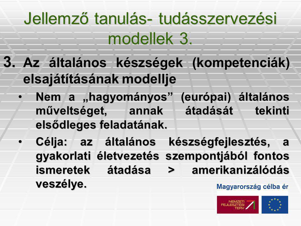 Jellemző tanulás- tudásszervezési modellek 3. 3.