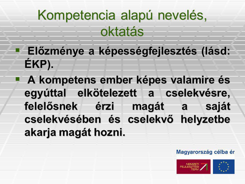 Kompetencia alapú nevelés, oktatás  Előzménye a képességfejlesztés (lásd: ÉKP).