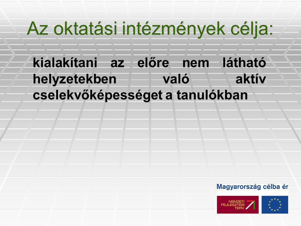 Az Európa Parlament és Tanács ajánlásai (2000, Lisszabon)  Anyanyelven folytatott kommunikáció  Idegen nyelveken folytatott kommunikáció  Matematikai kompetencia és alapvető kompetenciák a természet- és műszaki tudományok terén  Digitális kompetencia  A tanulás (meg)tanulása  Interperszonális, interkultúrális, szociális és állampolgári kompetencia  Vállalkozói kompetencia  Kulturális kifejezőkészség