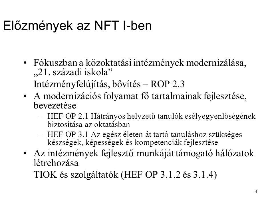 """4 Előzmények az NFT I-ben Fókuszban a közoktatási intézmények modernizálása, """"21."""