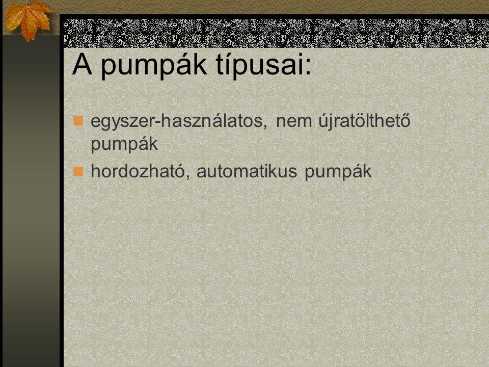A pumpák típusai: egyszer-használatos, nem újratölthető pumpák hordozható, automatikus pumpák