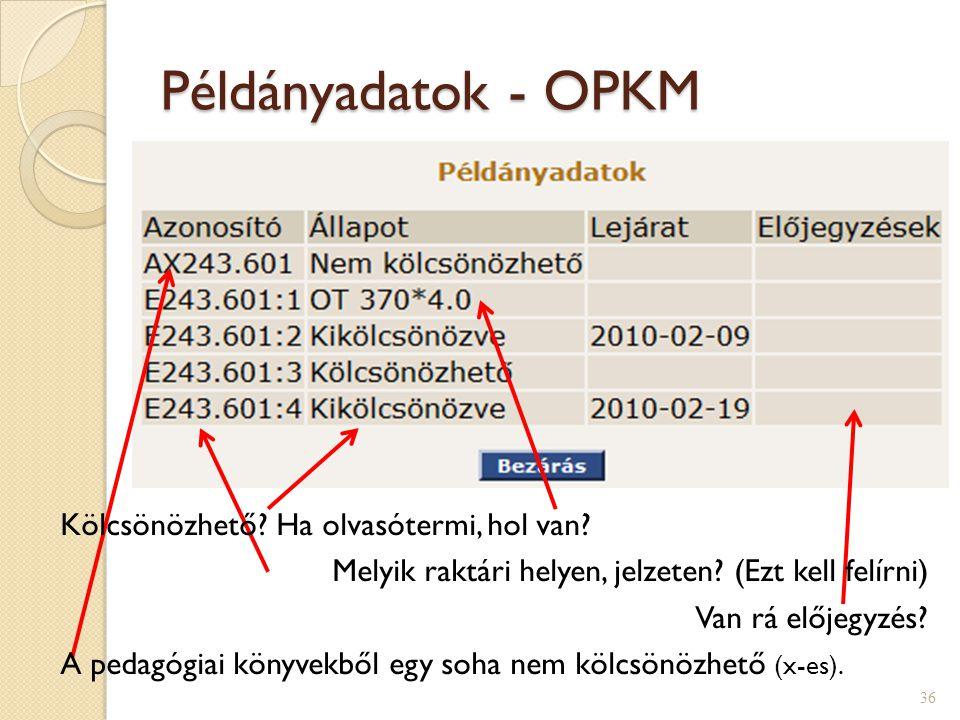 Példányadatok - OPKM 36 Kölcsönözhető? Ha olvasótermi, hol van? Melyik raktári helyen, jelzeten? (Ezt kell felírni) Van rá előjegyzés? A pedagógiai kö