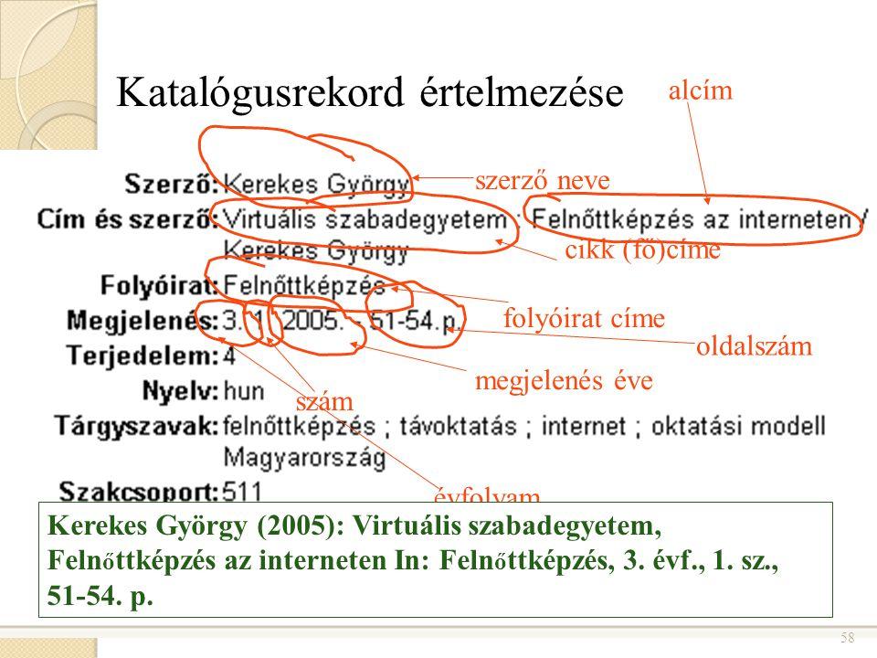 58 Katalógusrekord értelmezése szerző neve cikk (fő)címe alcím folyóirat címe megjelenés éve szám évfolyam oldalszám Kerekes György (2005): Virtuális