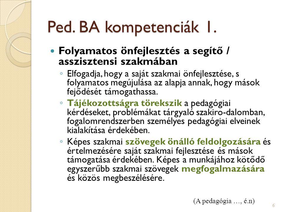 Ped. BA kompetenciák 1. Folyamatos önfejlesztés a segítő / asszisztensi szakmában ◦ Elfogadja, hogy a saját szakmai önfejlesztése, s folyamatos megúju