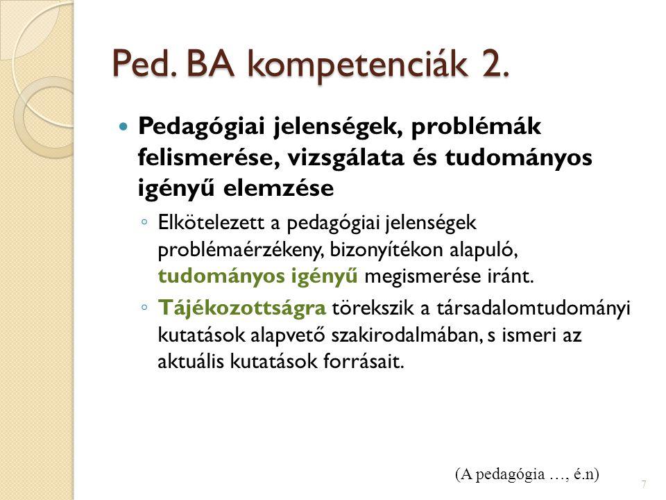 Ped. BA kompetenciák 2. Pedagógiai jelenségek, problémák felismerése, vizsgálata és tudományos igényű elemzése ◦ Elkötelezett a pedagógiai jelenségek
