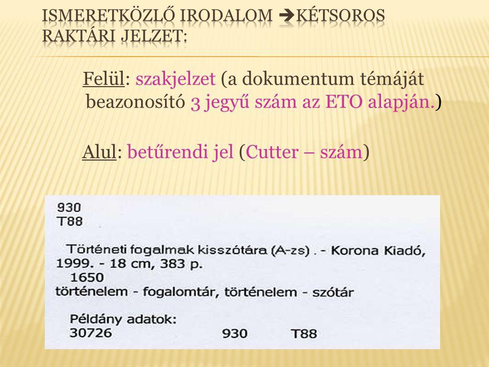 Felül: szakjelzet (a dokumentum témáját beazonosító 3 jegyű szám az ETO alapján.) Alul: betűrendi jel (Cutter – szám)