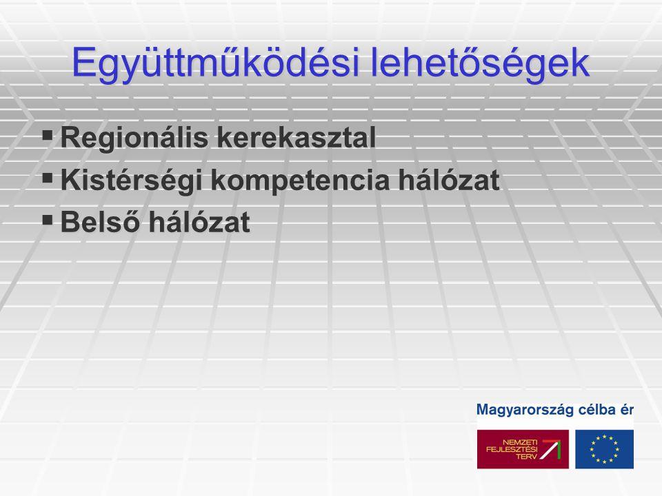 Együttműködési lehetőségek  Regionális kerekasztal  Kistérségi kompetencia hálózat  Belső hálózat