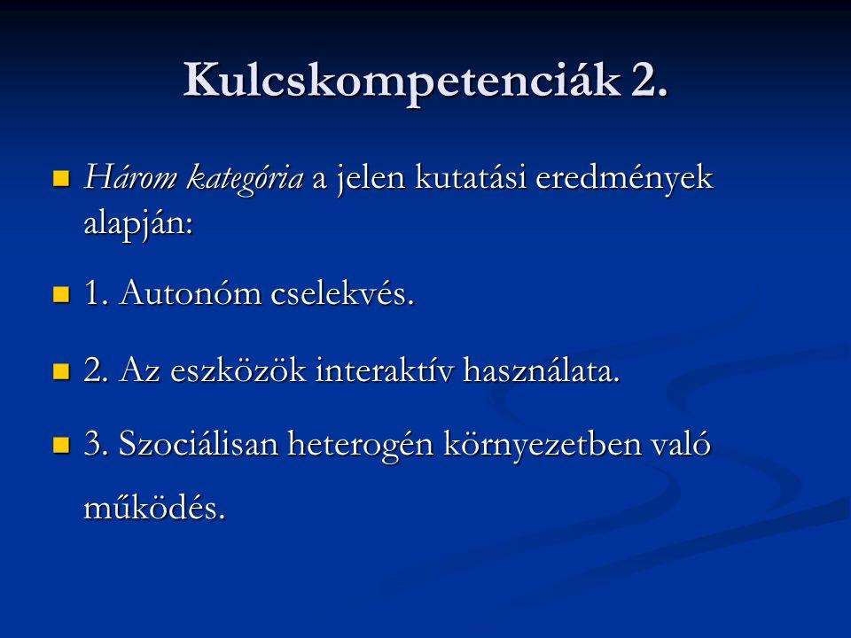 Kulcskompetenciák 2. Három kategória a jelen kutatási eredmények alapján: Három kategória a jelen kutatási eredmények alapján: 1. Autonóm cselekvés. 1
