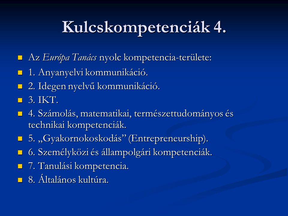 Kulcskompetenciák 4. Az Európa Tanács nyolc kompetencia-területe: Az Európa Tanács nyolc kompetencia-területe: 1. Anyanyelvi kommunikáció. 1. Anyanyel
