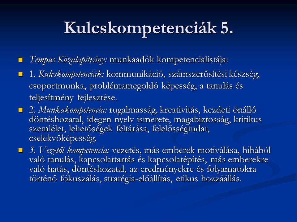 Kulcskompetenciák 5. Tempus Közalapítvány: munkaadók kompetencialistája: Tempus Közalapítvány: munkaadók kompetencialistája: 1. Kulcskompetenciák: kom