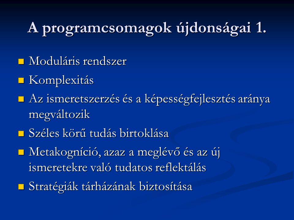 A programcsomagok újdonságai 1. Moduláris rendszer Moduláris rendszer Komplexitás Komplexitás Az ismeretszerzés és a képességfejlesztés aránya megvált