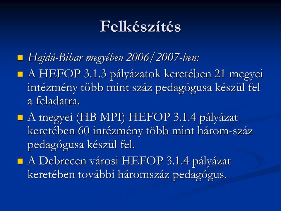 Felkészítés Hajdú-Bihar megyében 2006/2007-ben: Hajdú-Bihar megyében 2006/2007-ben: A HEFOP 3.1.3 pályázatok keretében 21 megyei intézmény több mint s
