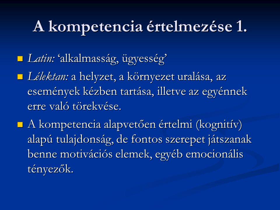A kompetencia értelmezése 1. Latin: 'alkalmasság, ügyesség' Latin: 'alkalmasság, ügyesség' Lélektan: a helyzet, a környezet uralása, az események kézb