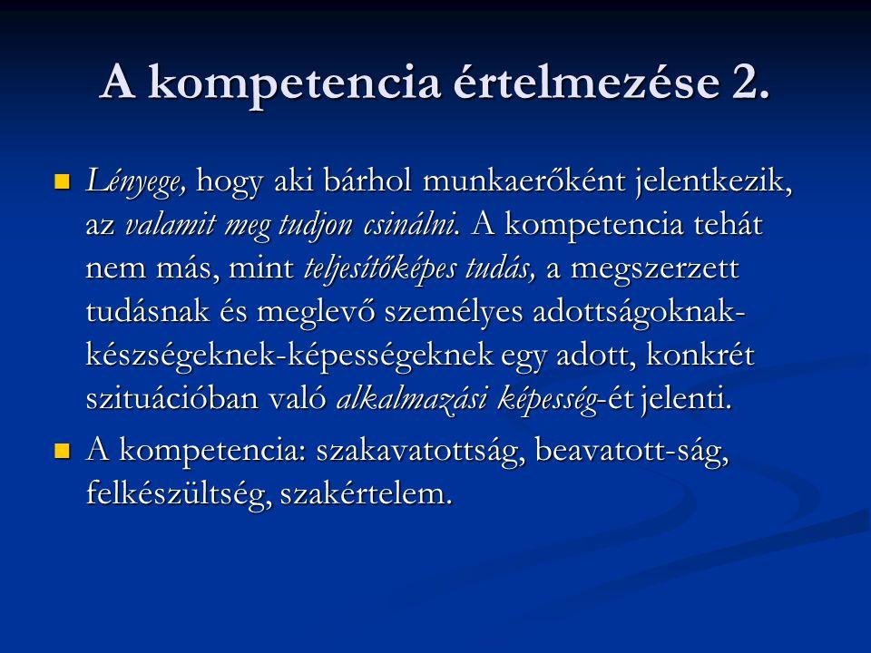A kompetencia értelmezése 2. Lényege, hogy aki bárhol munkaerőként jelentkezik, az valamit meg tudjon csinálni. A kompetencia tehát nem más, mint telj