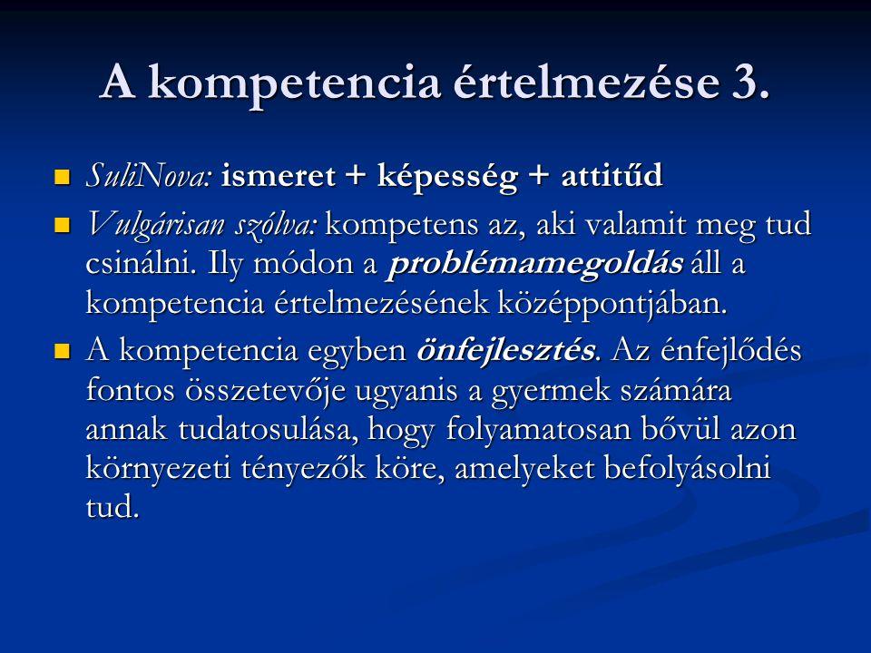 A kompetencia értelmezése 3. SuliNova: ismeret + képesség + attitűd SuliNova: ismeret + képesség + attitűd Vulgárisan szólva: kompetens az, aki valami