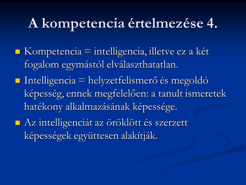 A kompetencia értelmezése 4. Kompetencia = intelligencia, illetve ez a két fogalom egymástól elválaszthatatlan. Kompetencia = intelligencia, illetve e