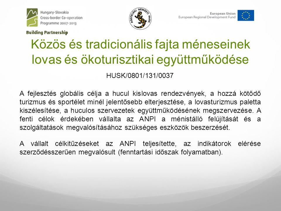 Közös és tradicionális fajta méneseinek lovas és ökoturisztikai együttműködése A fejlesztés globális célja a hucul kislovas rendezvények, a hozzá kötő