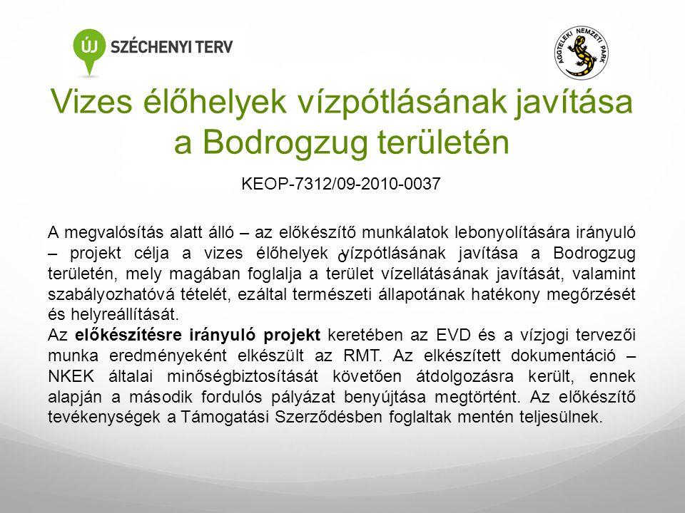 Vizes élőhelyek vízpótlásának javítása a Bodrogzug területén A megvalósítás alatt álló – az előkészítő munkálatok lebonyolítására irányuló – projekt c