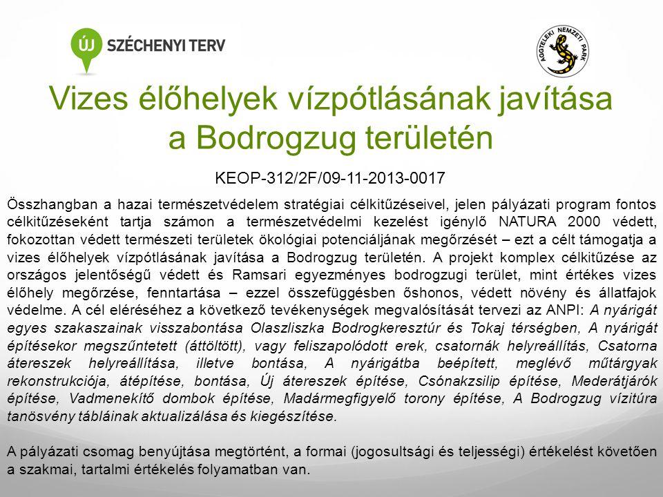 Vizes élőhelyek vízpótlásának javítása a Bodrogzug területén Összhangban a hazai természetvédelem stratégiai célkitűzéseivel, jelen pályázati program