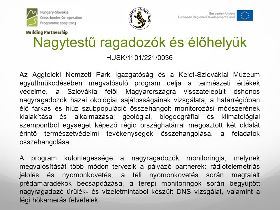 Nagytestű ragadozók és élőhelyük Az Aggteleki Nemzeti Park Igazgatóság és a Kelet-Szlovákiai Múzeum együttműködésében megvalósuló program célja a term