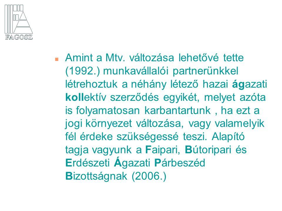 n Amint a Mtv. változása lehetővé tette (1992.) munkavállalói partnerünkkel létrehoztuk a néhány létező hazai ágazati kollektív szerződés egyikét, mel