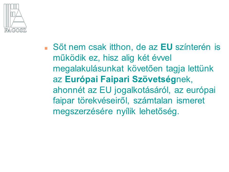 n Sőt nem csak itthon, de az EU színterén is működik ez, hisz alig két évvel megalakulásunkat követően tagja lettünk az Európai Faipari Szövetségnek,