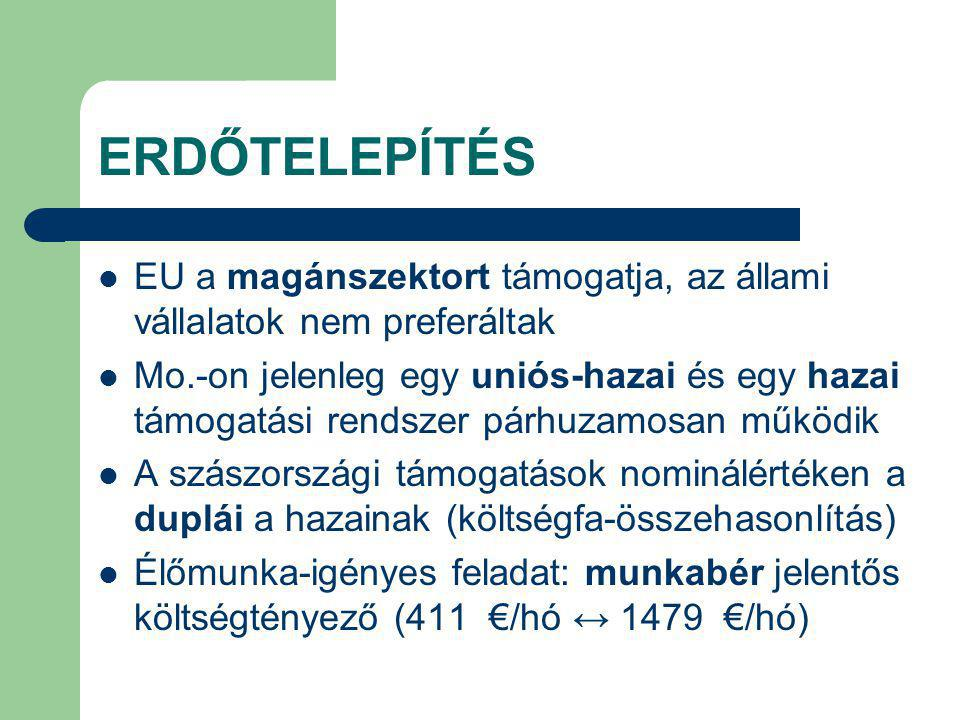 ERDŐTELEPÍTÉS EU a magánszektort támogatja, az állami vállalatok nem preferáltak Mo.-on jelenleg egy uniós-hazai és egy hazai támogatási rendszer párhuzamosan működik A szászországi támogatások nominálértéken a duplái a hazainak (költségfa-összehasonlítás) Élőmunka-igényes feladat: munkabér jelentős költségtényező (411 €/hó ↔ 1479 €/hó)