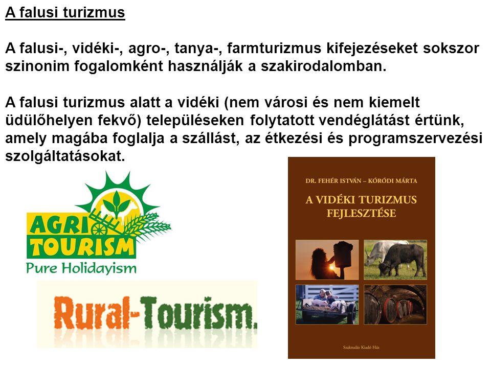 A falusi turizmus A falusi-, vidéki-, agro-, tanya-, farmturizmus kifejezéseket sokszor szinonim fogalomként használják a szakirodalomban. A falusi tu