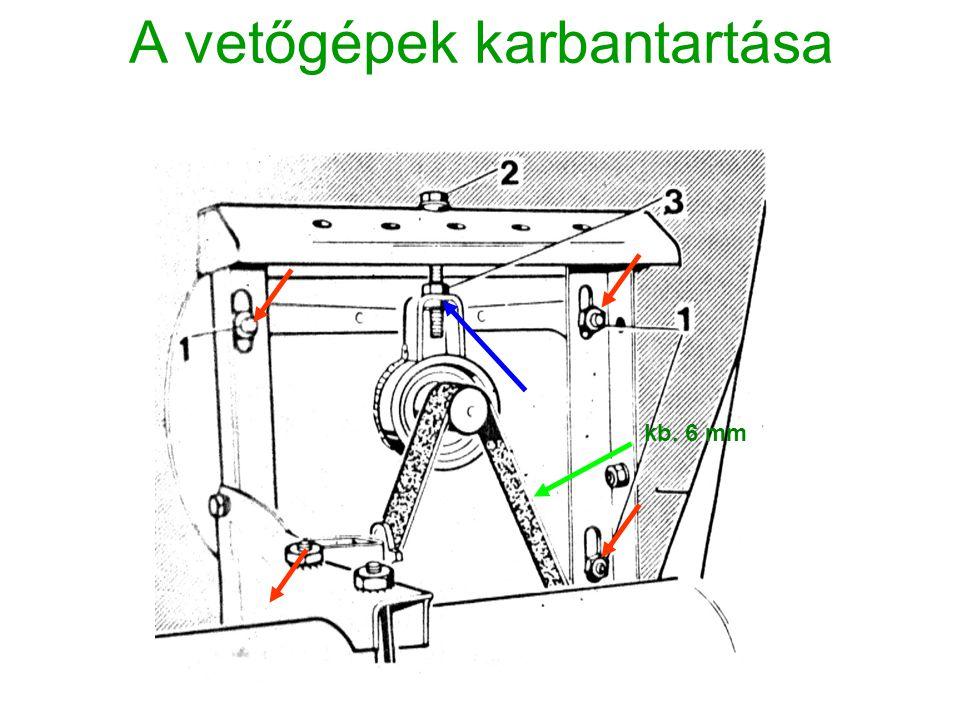 A vetőgépek karbantartása kb. 6 mm