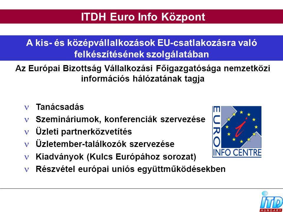 ITDH Euro Info Központ A kis- és középvállalkozások EU-csatlakozásra való felkészítésének szolgálatában Tanácsadás Szemináriumok, konferenciák szervez