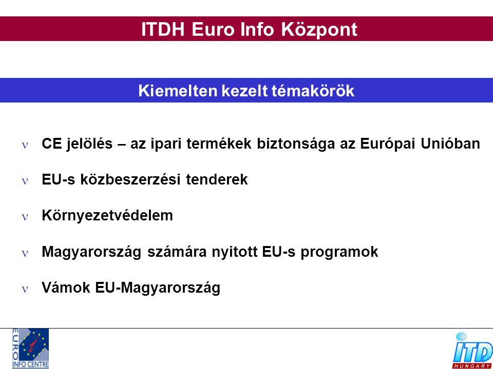 ITDH Euro Info Központ Kiemelten kezelt témakörök CE jelölés – az ipari termékek biztonsága az Európai Unióban EU-s közbeszerzési tenderek Környezetvé